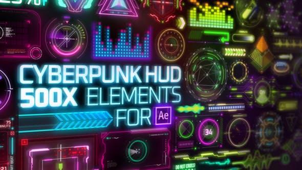 Videohive Cyberpunk HUD Elements