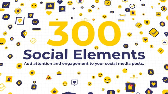 300 Social Elements | After Effects