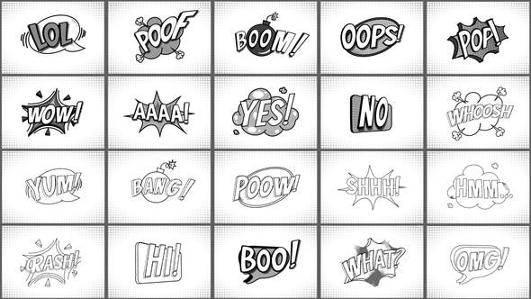 Comic Titles Black And White    After Effects